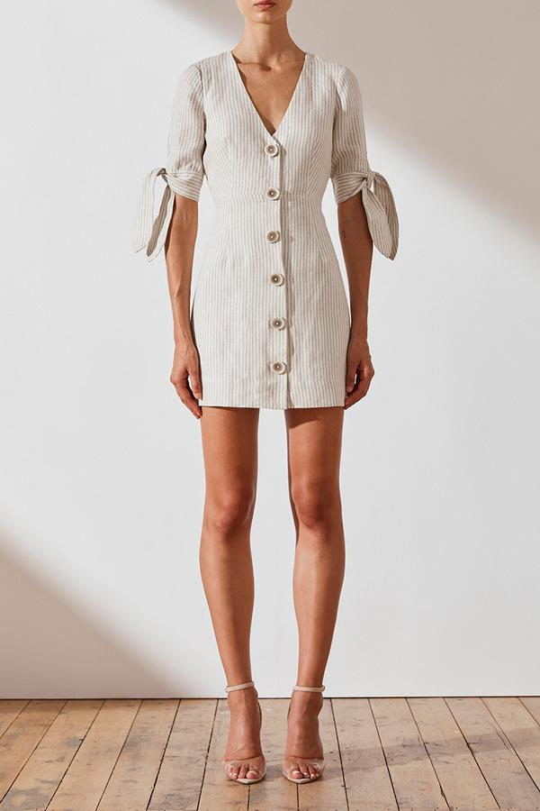 Shona Joy Shaw Linen Fitted Mini Dress