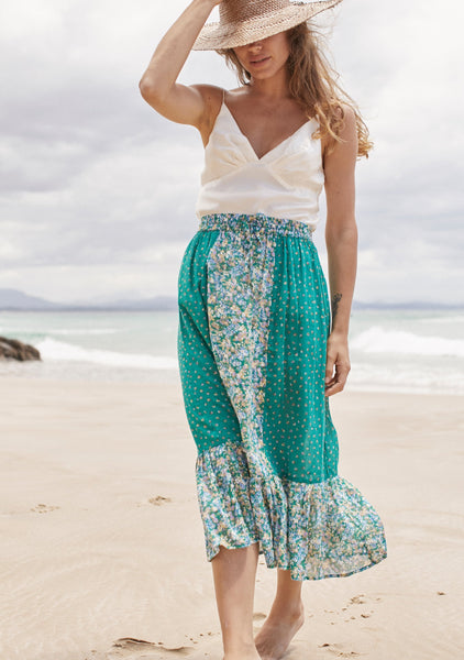 Auguste Palm Springs Belle Midi Skirt - Emerald