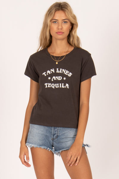 Amuse Society Tan Lines & Tequila Tee - Charcoal