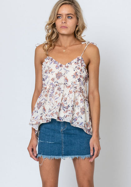 Three of Something Temple Floral Waterfall Cami