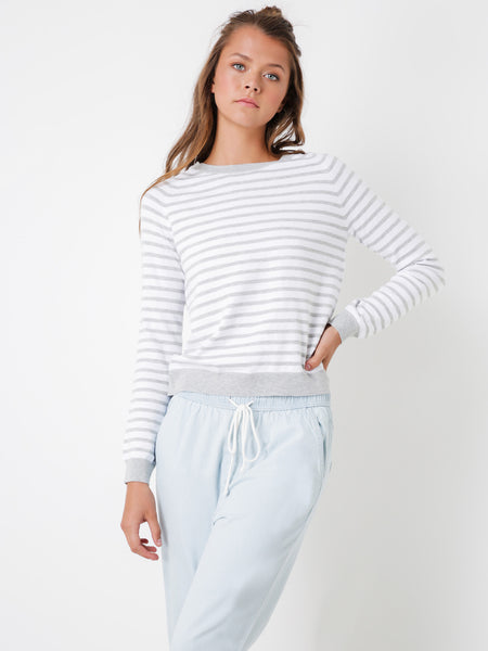 Nude Lucy Starbury Crossback Jumper - Grey Stripe