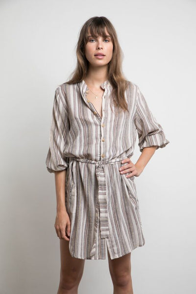 Lilya Winnie Dress - Vintage Stripe Brown