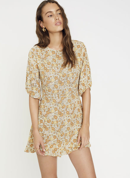 Faithfull The Brand Jeanete Dress - Zoella Floral Print Peach