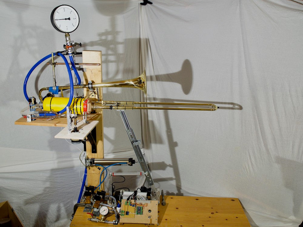 The RoboTrombo is a MIDI-controlled robotic trombone
