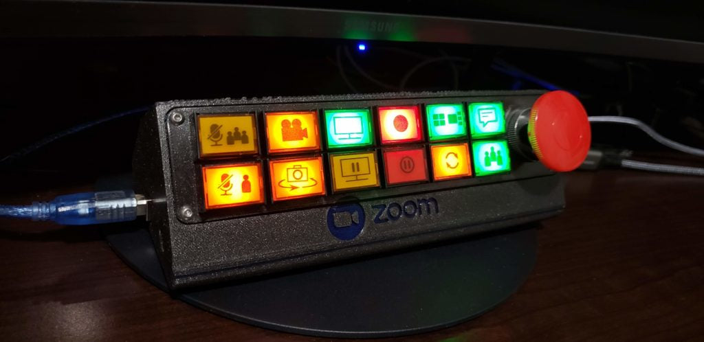 A pushbutton control panel for your Zoom calls