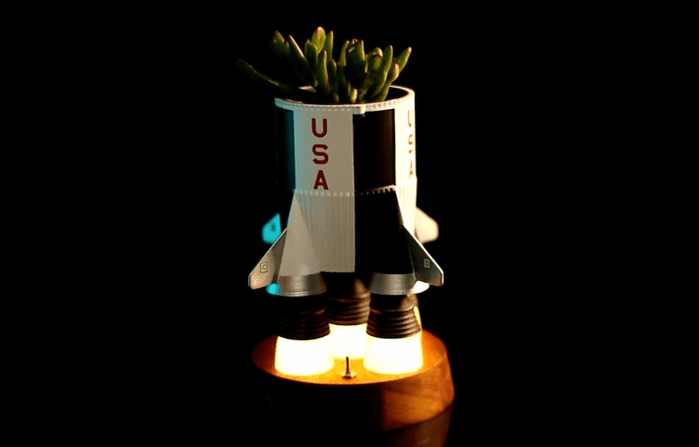 Watch your houseplant's growth really take off in this Saturn V planter