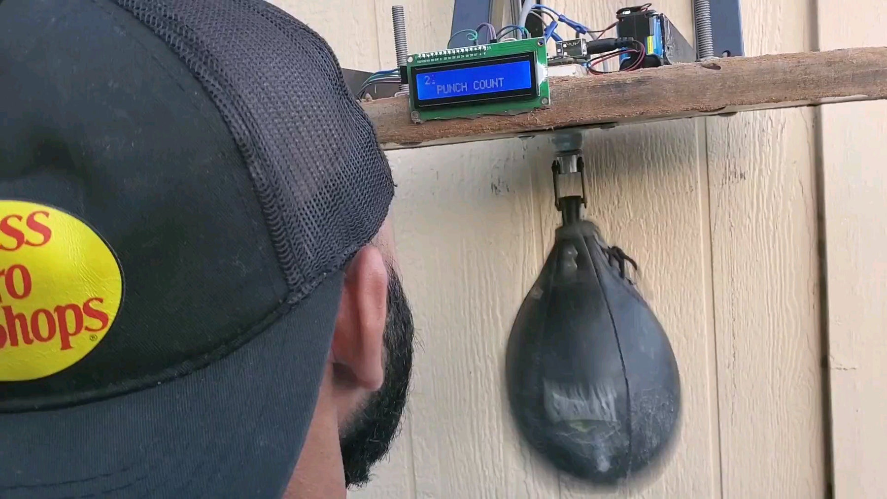 This Arduino-based speed bag counts your punches