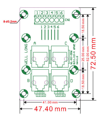Useful RJ11 RJ12 6P6C 4-Way Buss Terminal Block DIN Rail Breakout Board from PMD Way with free delivery worldwide