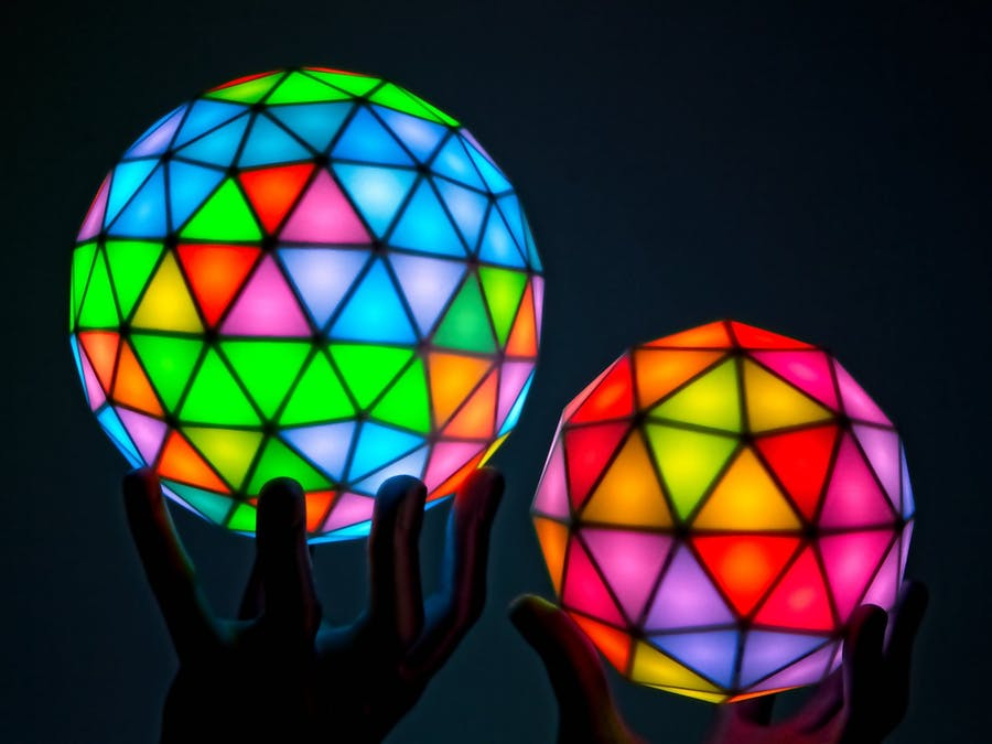 These geodesic RGB LED spheres are absolutely stunning