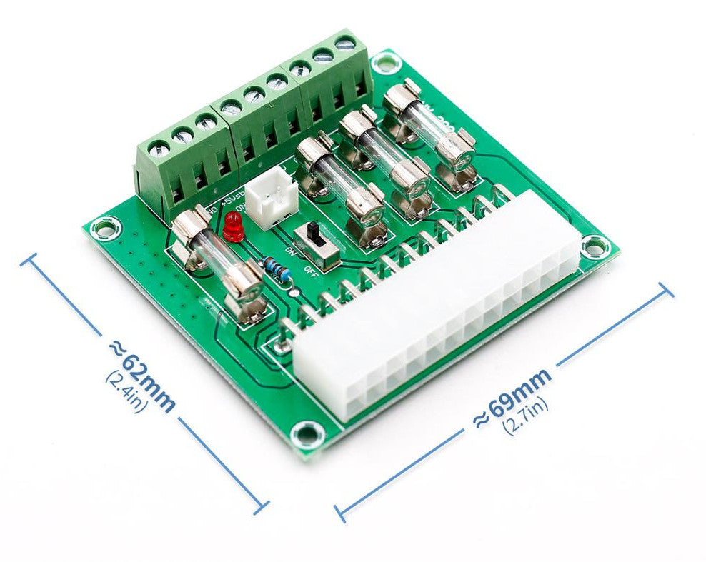 Fused 24/20-pin ATX DC Power Supply Breakout Board from PMD Way with free delivery worldwide