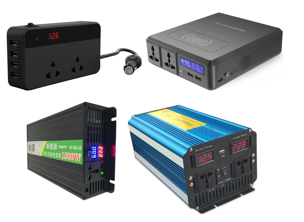 Run AC mains 110V 220V 230V appliances from DC power like batteries, cars and trucks using DC to AC Power Inverters from PMD Way with free delivery worldwide