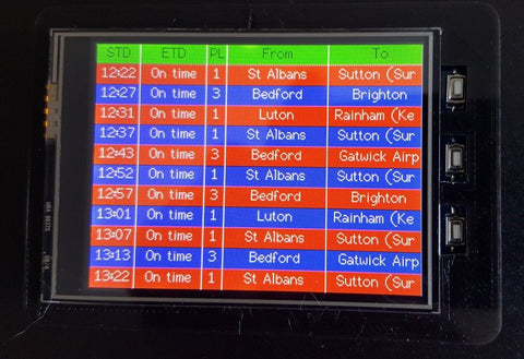 British Rail timetable display device with ESP8266