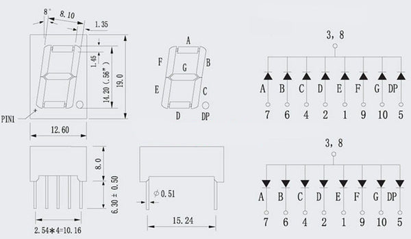 """0.56"""" 7 Segment LED Display Modules - 5 Pack from PMD Way with free delivery worldwide"""