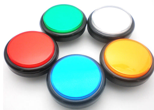 Huge 100mm Illuminated Flat Arcade Buttons in five colors from PMD Way with free delivery worldwide