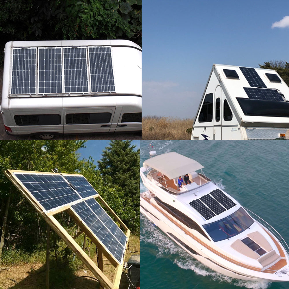 Keep your campsite powered... RV, caravan or boat battery charged up, or operate a 12V DC power system for your location with ease using one of these 12V 120W to 720W flexible solar power supply kits from PMD Way with free delivery worldwide