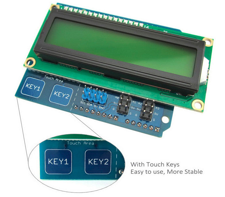 Save Arduino pins with the 16x2 Character LCD Shield for Arduino with I2C and Touch Keys from PMD Way with free delivery worldwide