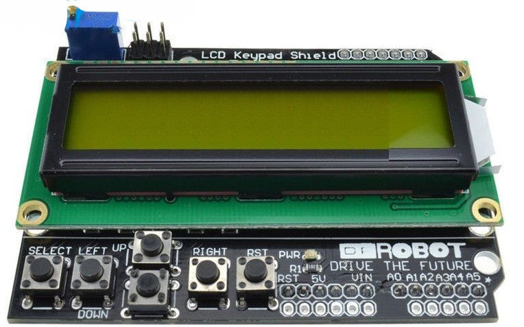 Great value 16x2 Character LCD Shield for Arduino - Green on Yellow from PMD Way - with free delivery, worldwide