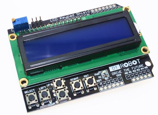 Great value 16x2 Character LCD Shield for Arduino - White on Blue from PMD Way - with free delivery, worldwide