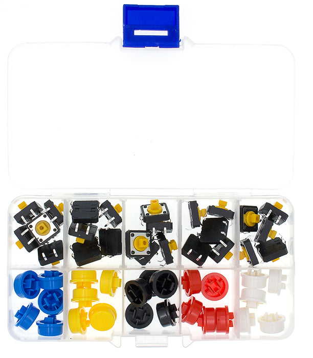 Assorted 12mm Tactile Buttons with Color Caps - 25 Pack from PMD Way with free delivery worldwide