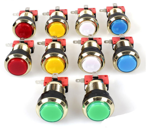 30mm Gold Plated Illuminated LED Buttons in packs of ten from PMD Way with free delivery worldwide