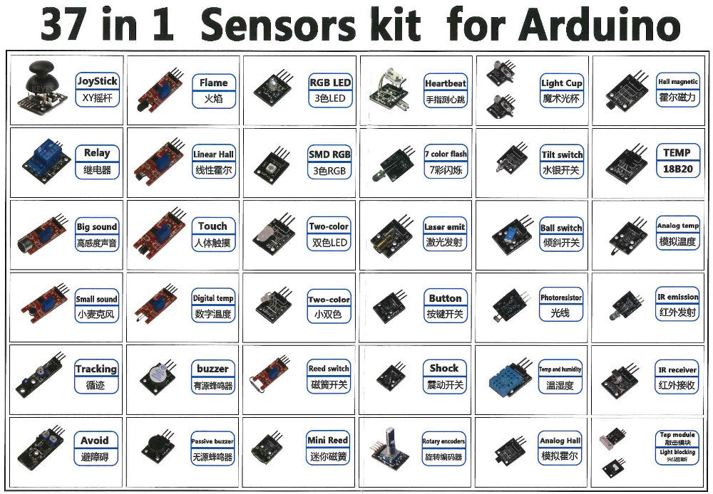 Incredible range of 37 sensor modules in one box - ideal for Arduino, Raspberry Pi and more - from PMD Way with free delivery, worldwide