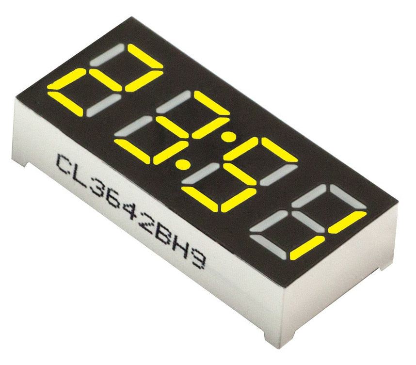 "0.36"" 4-Digit 7-segment LED Clock Display - Yellow - CA - 5 Pack from PMD Way with free delivery wordlwide"