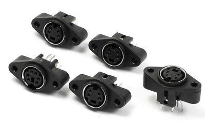 Panel Mount 4 Pin Mini DIN S-Video Sockets - 5 Pack from PMD Way with free delivery worldwide