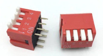 Piano Style DIP Switch - 4 Way in packs of ten from PMD Way with free delivery worldwide
