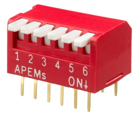 Piano Style DIP Switch - 6 Way - 10 Pack from PMD Way with free delivery worldwide