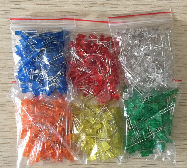 Assorted Diffused 5mm LED Pack - 600 Pieces with red, orange, white, yellow, blue and green from PMD Way with free delivery worldwide