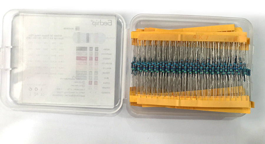 Assorted 1/4W Metal Film Resistor Pack - 600 Pieces from PMD Way with free delivery worldwide