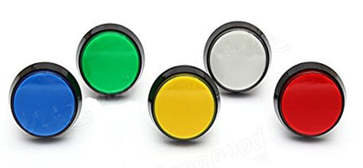 60mm Flat Illuminated Arcade Buttons in packs of six from PMD Way with free delivery worldwide