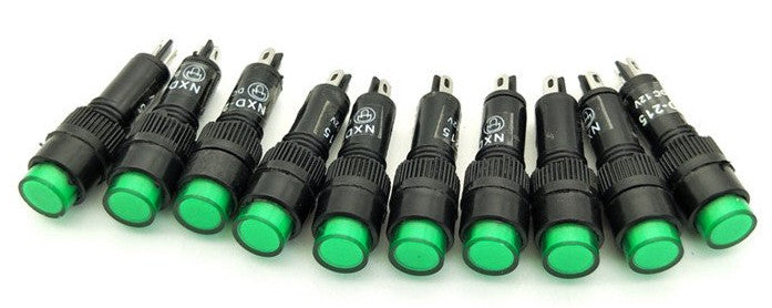 Useful 8mm Panel Mount Red or Green Neon Indicator Pilot Signal Lamps in packs of ten from PMD Way with free delivery worldwide