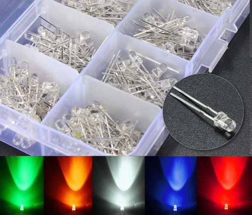 Assorted 3mm Clear LED Kit - 300 Pack - Red Green Yellow Blue White from PMD Way with free delivery worldwide