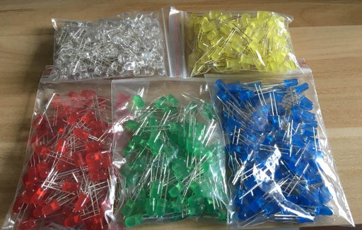 Assorted 5mm LED Kit - 500 Pack - Red Green Yellow Blue White from PMD Way with free delivery worldwide