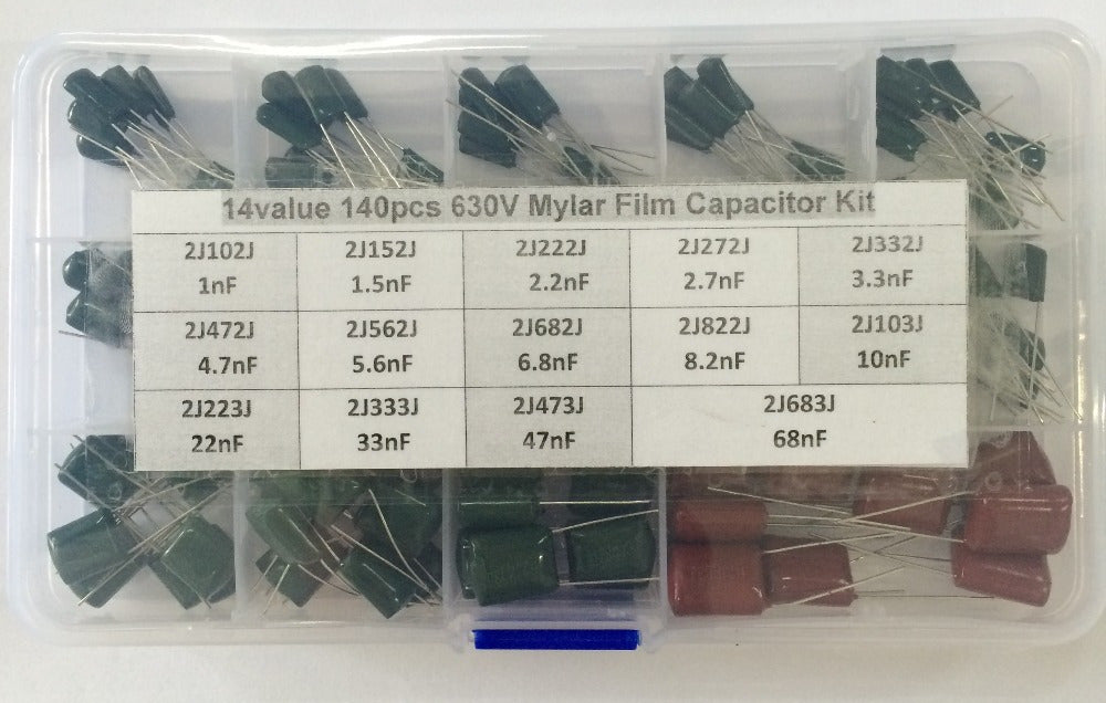 Great value Boxed Assortment 630V Polyester Capacitor Kit - 140 Pieces from PMD Way with free delivery worldwide