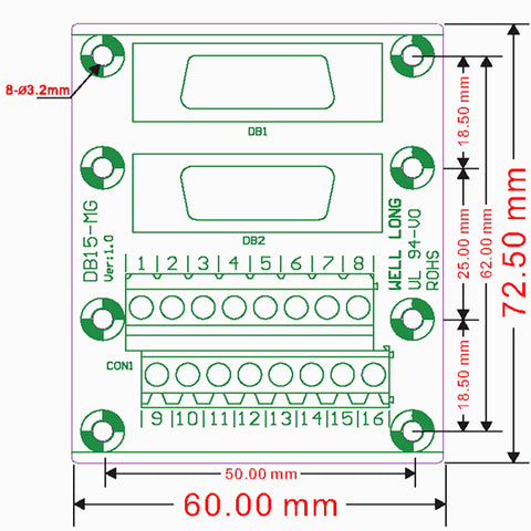 Convenient DB15 Male and Female Breakout Board from PMD Way with free delivery worldwide