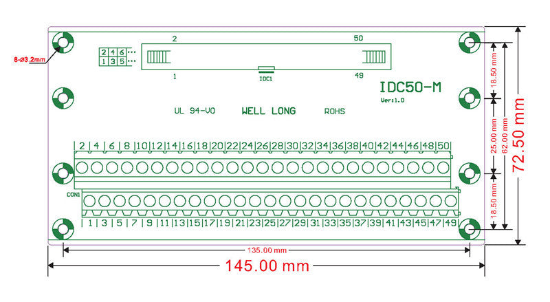 "Useful IDC Cable Breakout Board - 50 pin (2x25) 0.1"" from PMD Way with free delivery worldwide"