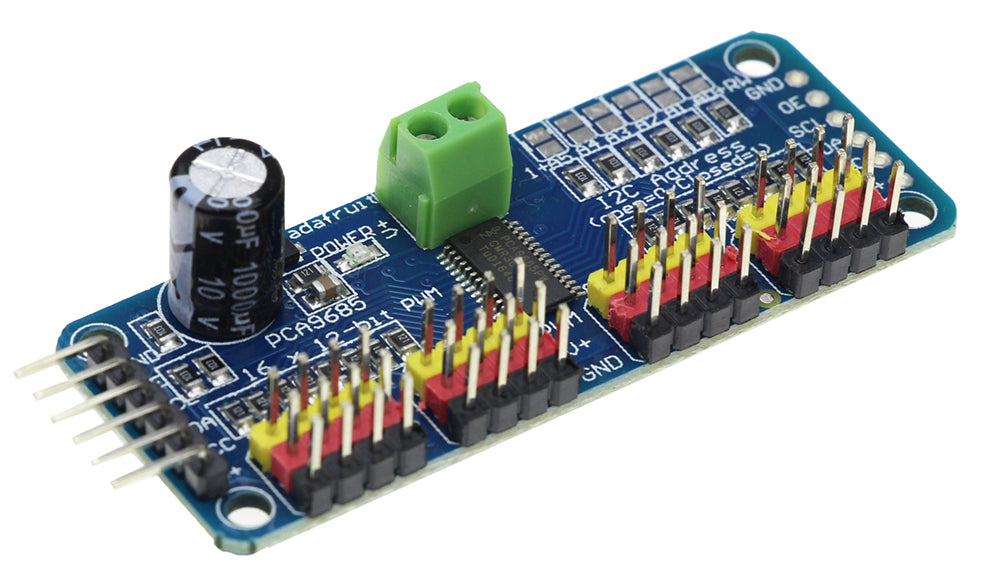 Control servos or LEDs with the PCA9685 16 Channel 12-Bit PWM Servo Driver Breakout Board from PMD Way with free delivery worldwide