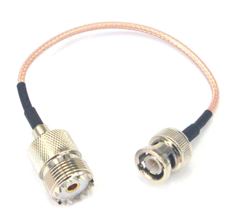 Quality PL259 SO239 UHF Female to BNC Male Straight Crimp Plug Cables with your choice of coax from PMD Way with free delivery worldwide