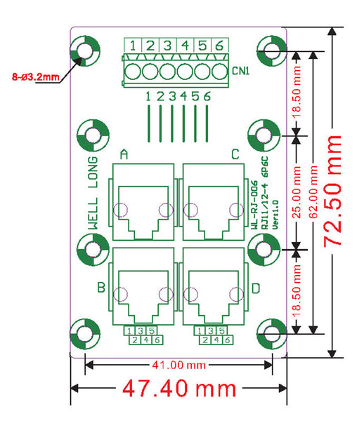 Useful RJ11 RJ12 6P6C 2-Way Buss Breakout Board from PMD Way with free delivery worldwide