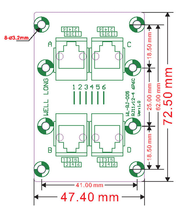 Useful RJ11 RJ12 6P6C 4-Way Buss Breakout Board from PMD Way with free delivery worldwide