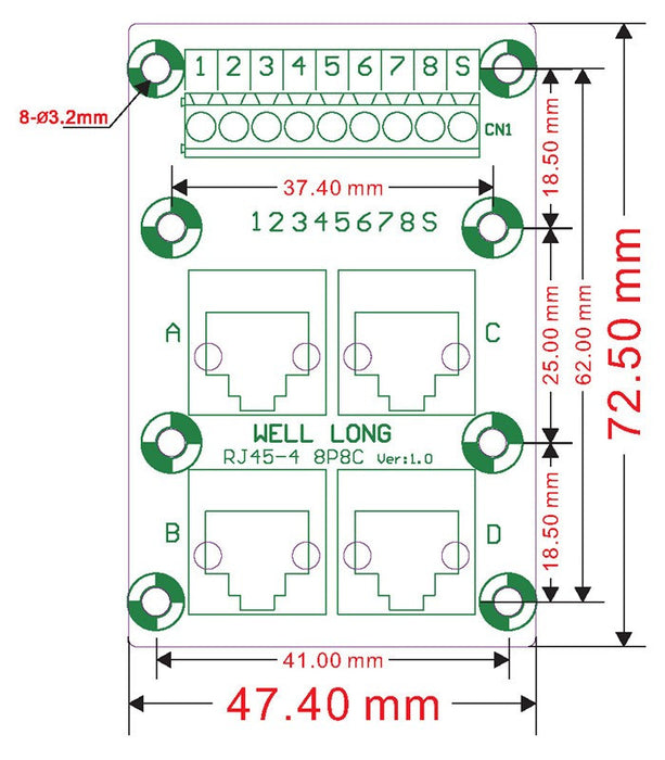 Useful RJ45 8P8C Horizontal 2-Way Buss Terminal Block Breakout Board from PMD Way with free delivery worldwide