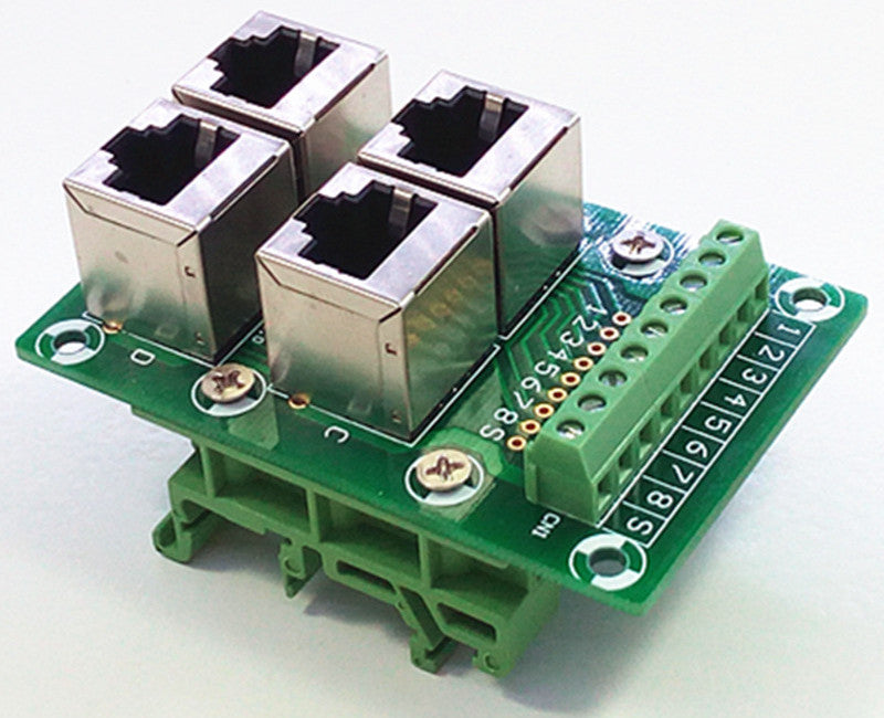 Useful RJ45 8P8C 4-Way Buss DIN Rail Terminal Block Breakout Board from PMD Way with free delivery worldwide