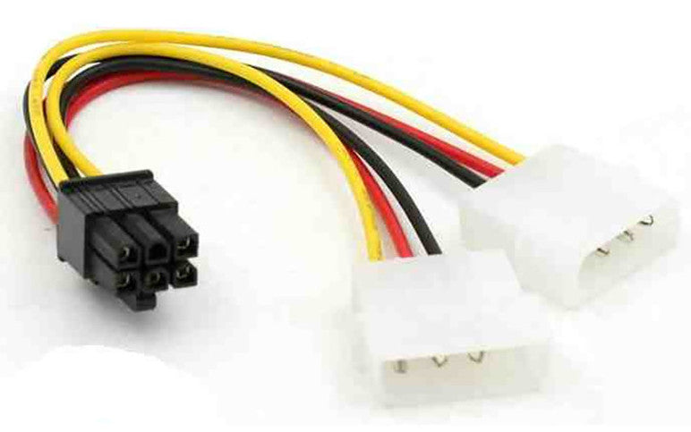 Twin IDE Molex Power to 6-Pin PCI Express Cable