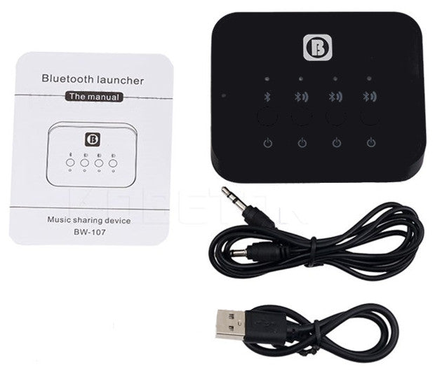 Transmit audio from one source to three Bluetooth devices using the Wireless Triple Bluetooth Audio Transmitter from PMD Way with free delivery worldwide