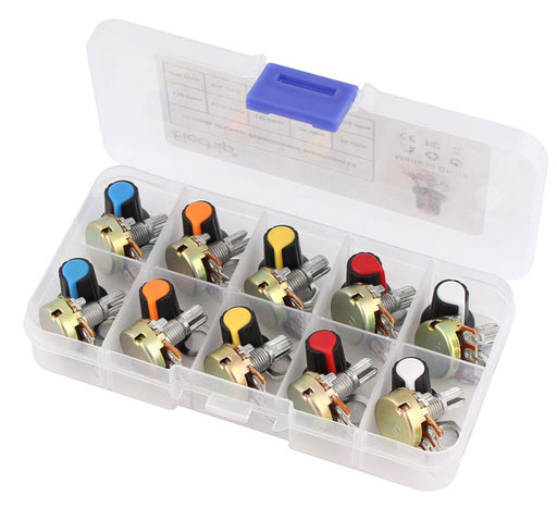 Assorted 15mm Linear Potentiometer Pack with Knobs - Ten Pack from PMD Way with free delivery worldwide