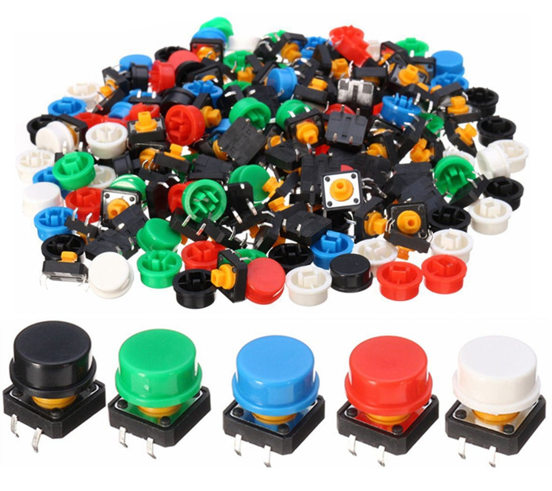 Assorted Tactile Buttons with Color Caps in packs of 100 from PMD Way with free delivery worldwide