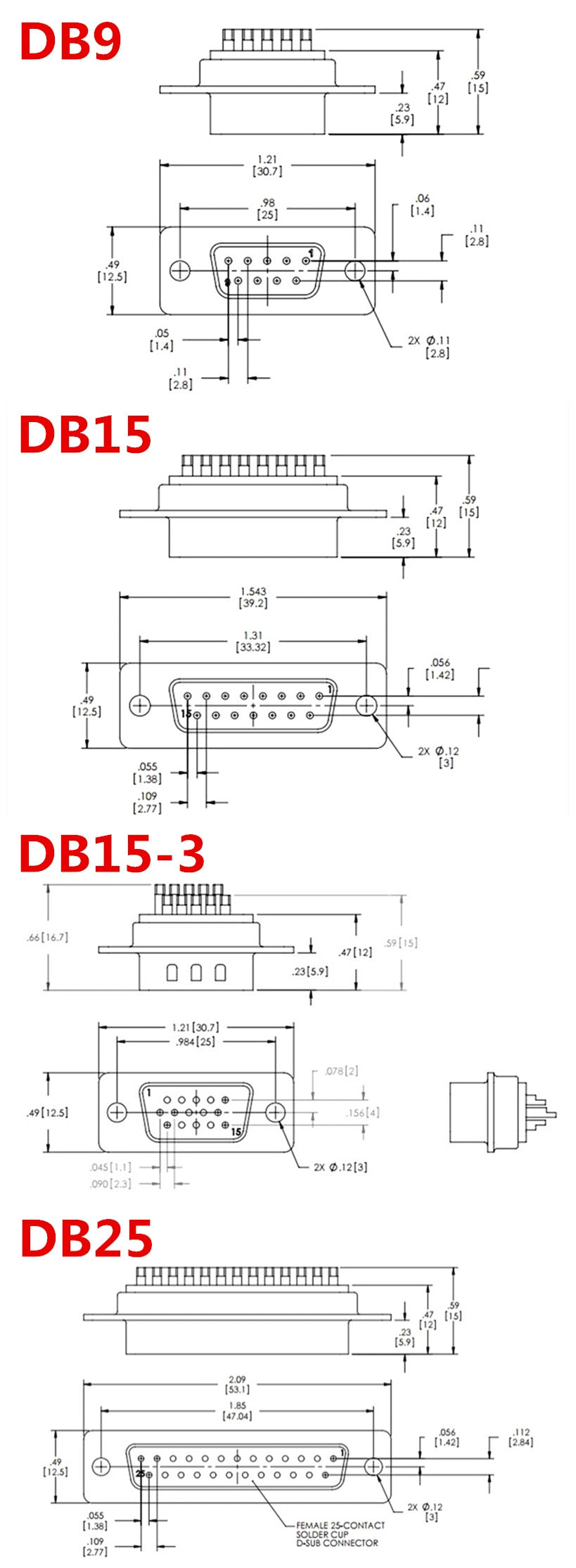 DB9 DB15 VGA DB25 Solder Connectors in packs of five from PMD Way with free delivery worldwide