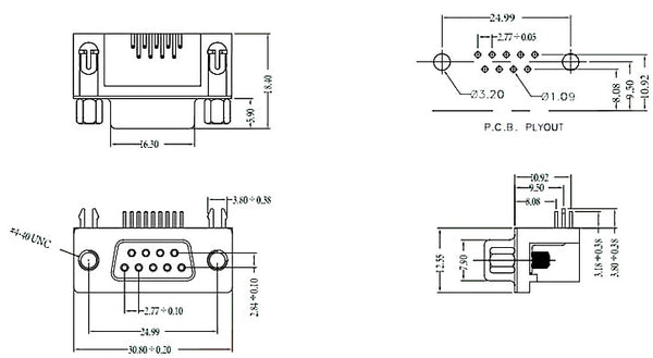 DB9 Right Angle PCB Mount Connector - 10 Pack from PMD Way with free delivery worldwide